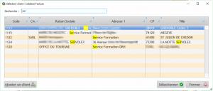 Sélection client recherche