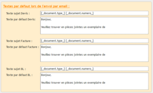 Sujet et texte par défaut envoi email.